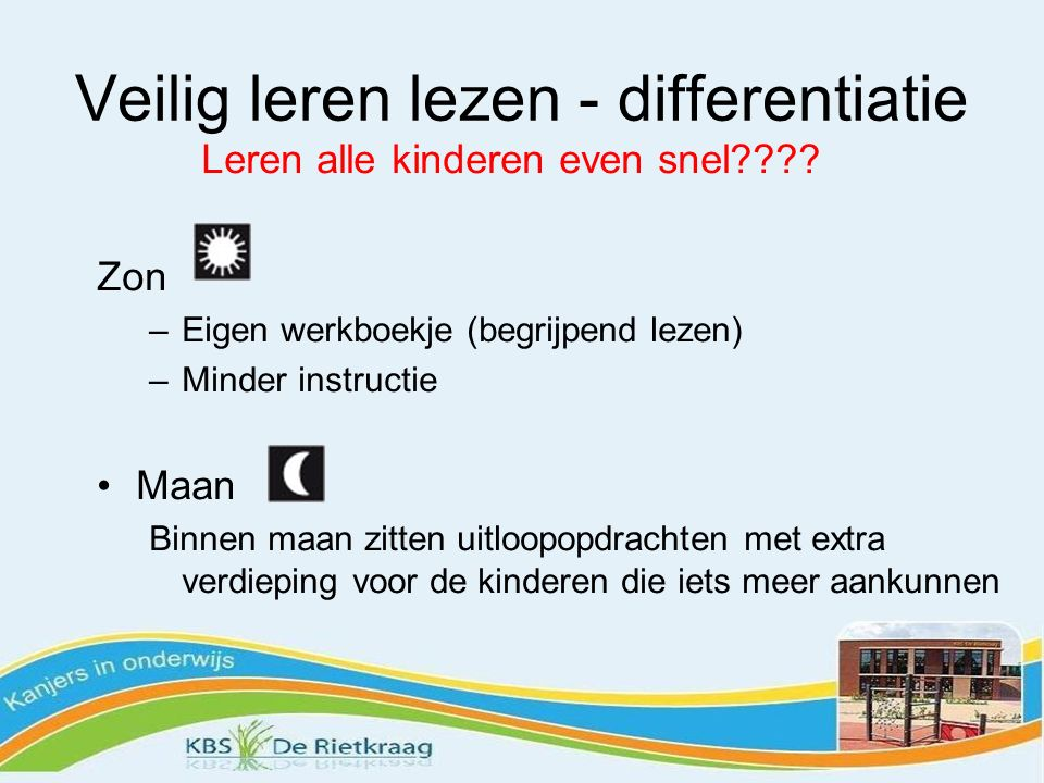 Veilig leren lezen - differentiatie