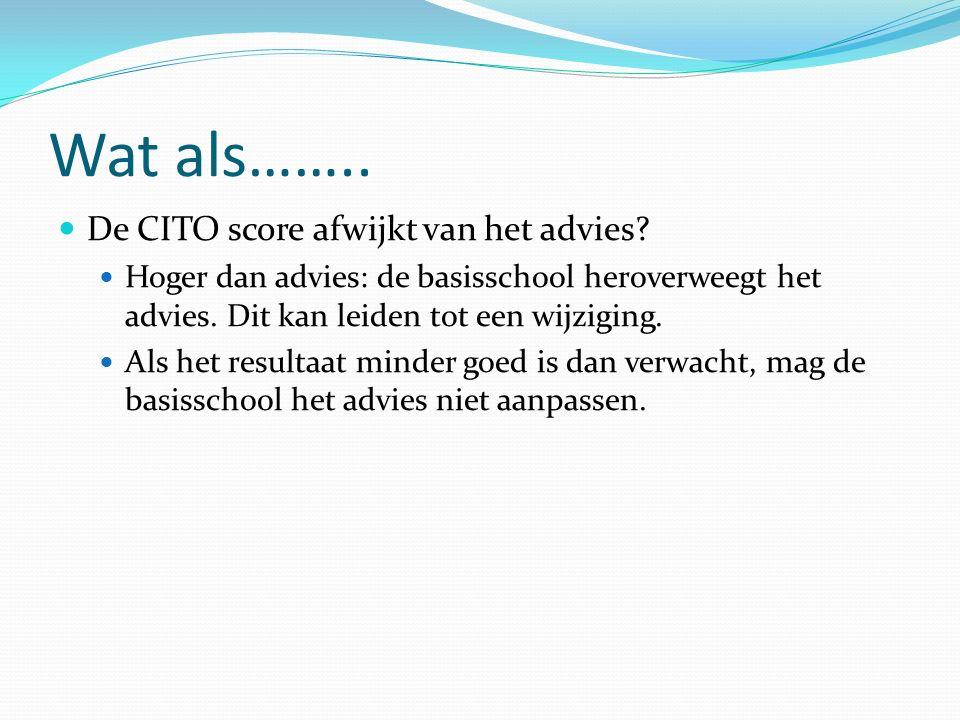 Wat als…….. De CITO score afwijkt van het advies