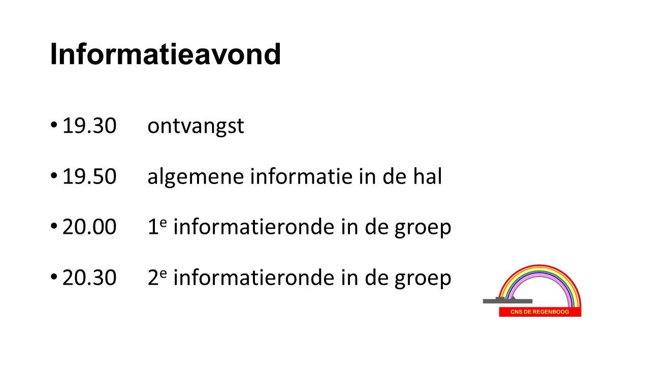 Informatieavond 19.30 ontvangst 19.50 algemene informatie in de hal