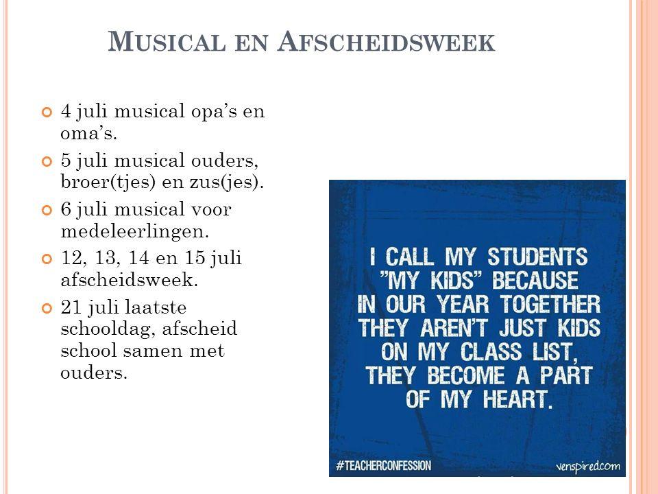 Musical en Afscheidsweek