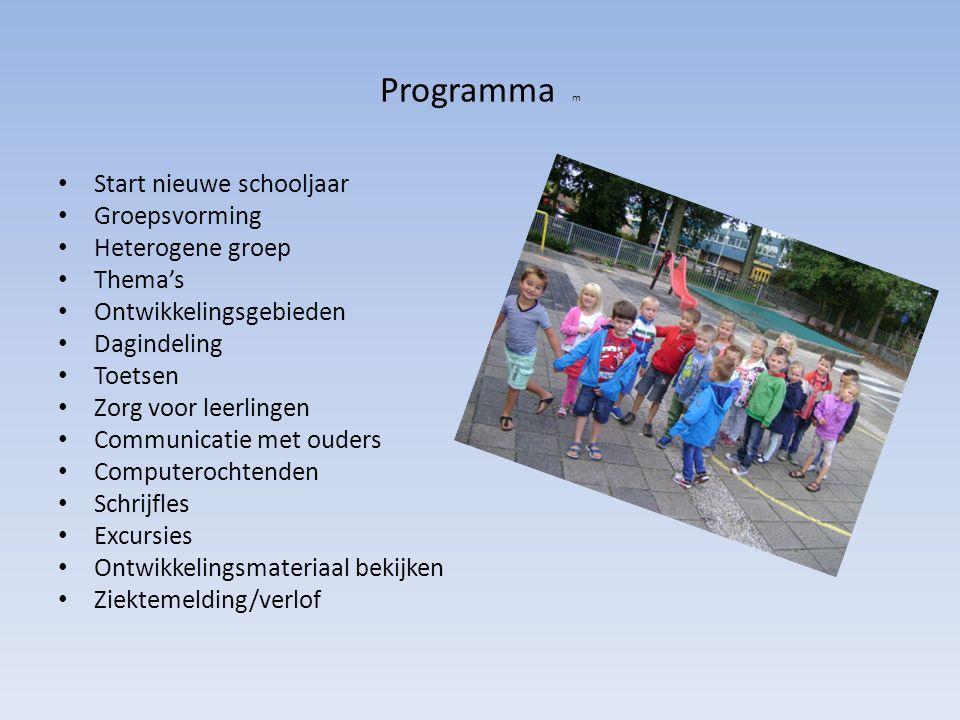 Programma m Start nieuwe schooljaar Groepsvorming Heterogene groep