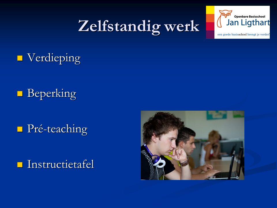 Zelfstandig werk Verdieping Beperking Pré-teaching Instructietafel