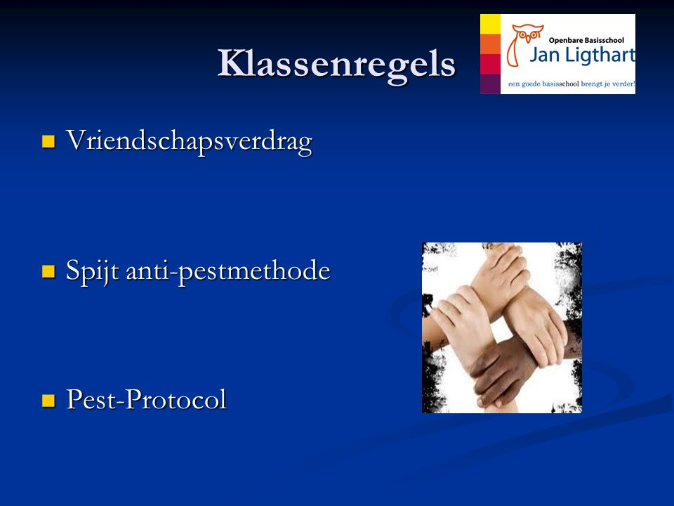 Klassenregels Vriendschapsverdrag Spijt anti-pestmethode Pest-Protocol