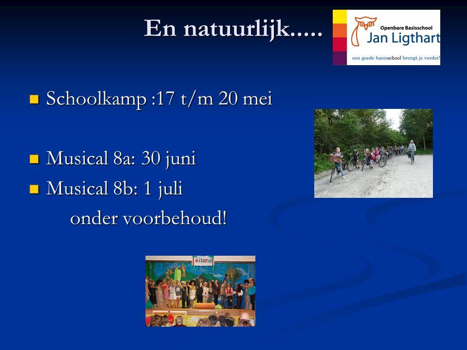 En natuurlijk..... Schoolkamp :17 t/m 20 mei Musical 8a: 30 juni