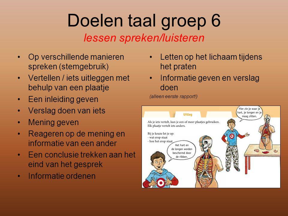 Doelen taal groep 6 lessen spreken/luisteren