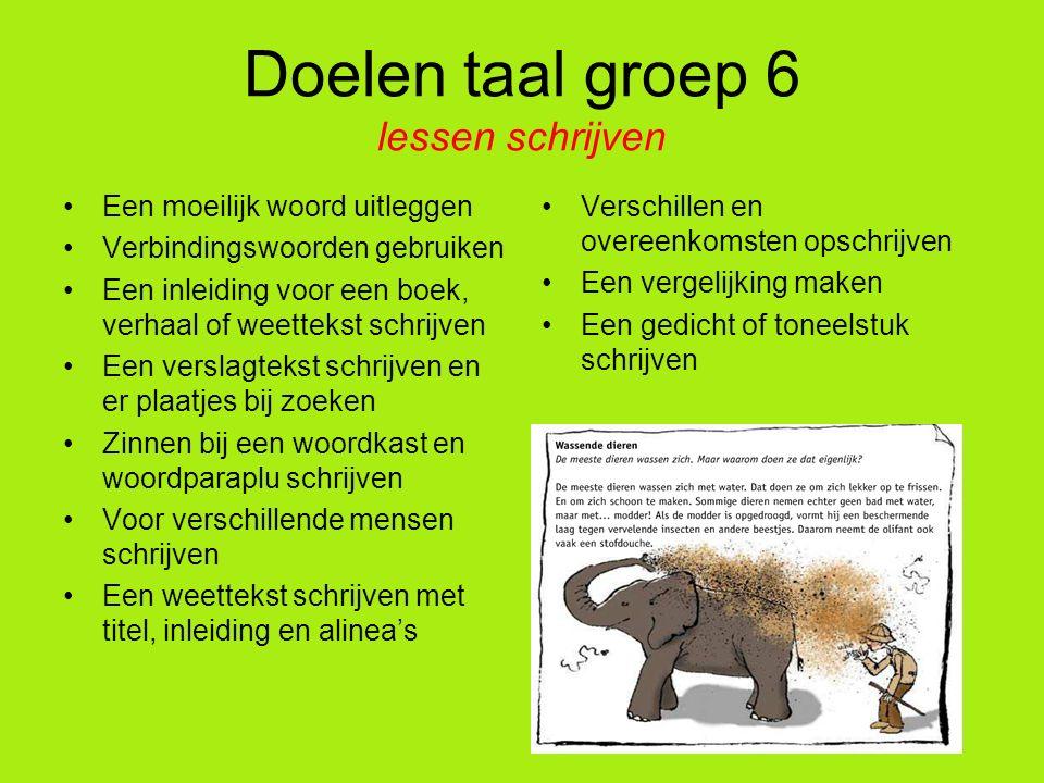 Doelen taal groep 6 lessen schrijven