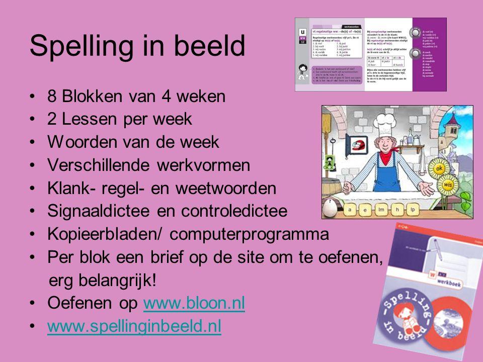 Spelling in beeld 8 Blokken van 4 weken 2 Lessen per week