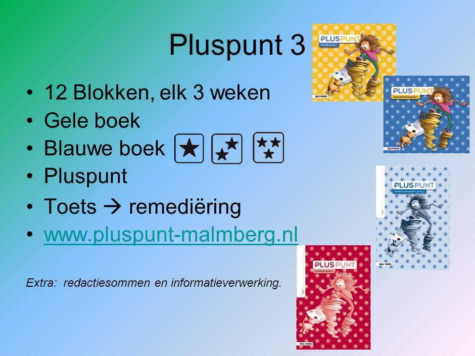 Pluspunt 3 12 Blokken, elk 3 weken Gele boek Blauwe boek Pluspunt