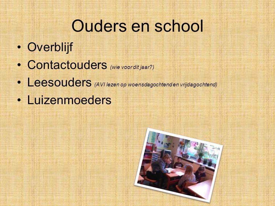 Ouders en school Overblijf Contactouders (wie voor dit jaar )