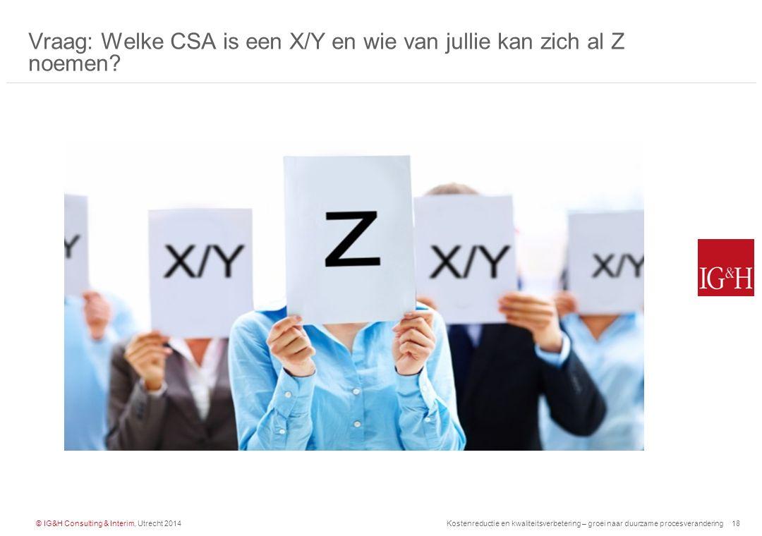 Vraag: Welke CSA is een X/Y en wie van jullie kan zich al Z noemen