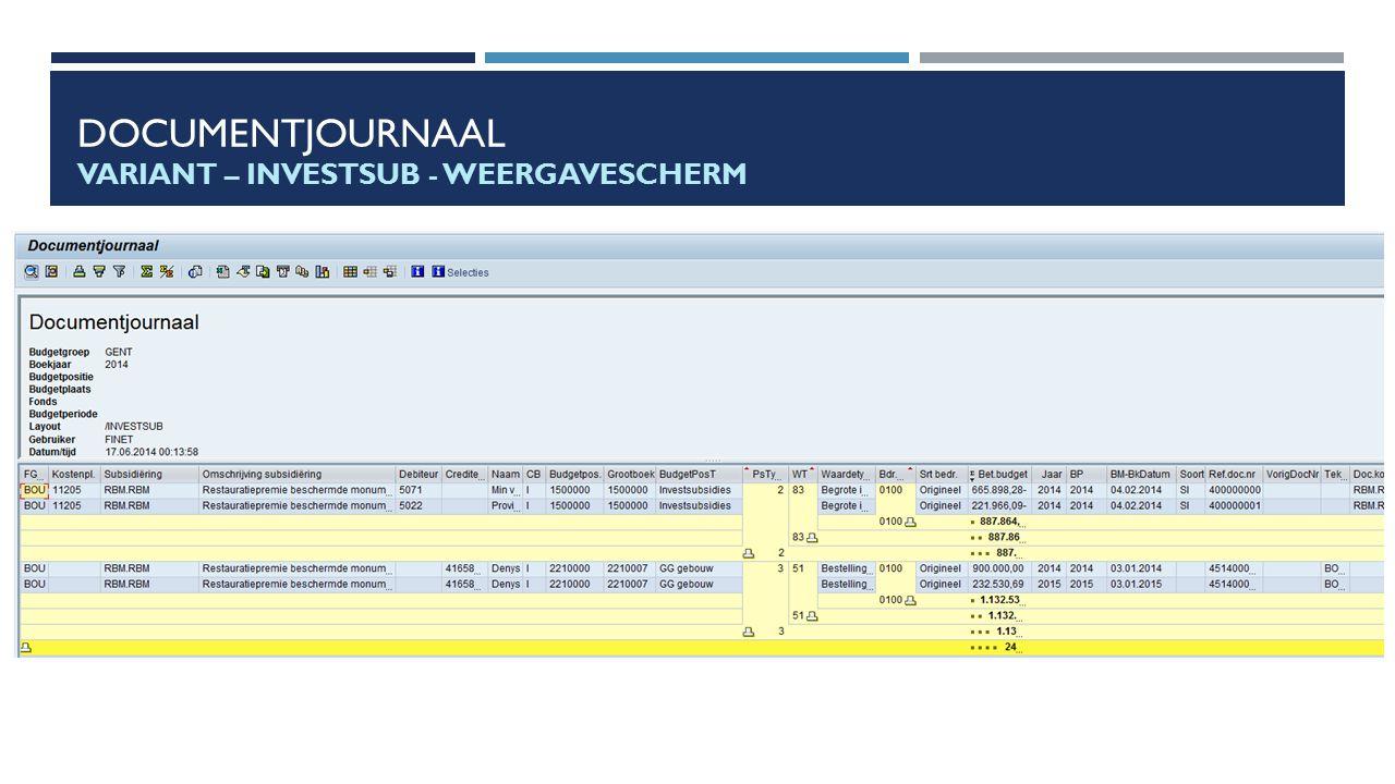 Documentjournaal Variant – INVESTSUB - Weergavescherm