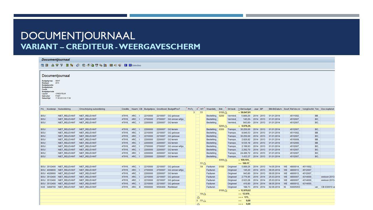 Documentjournaal Variant – crediteur - Weergavescherm