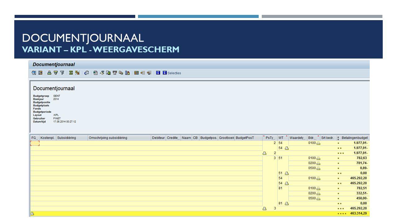 Documentjournaal Variant – KPL - Weergavescherm