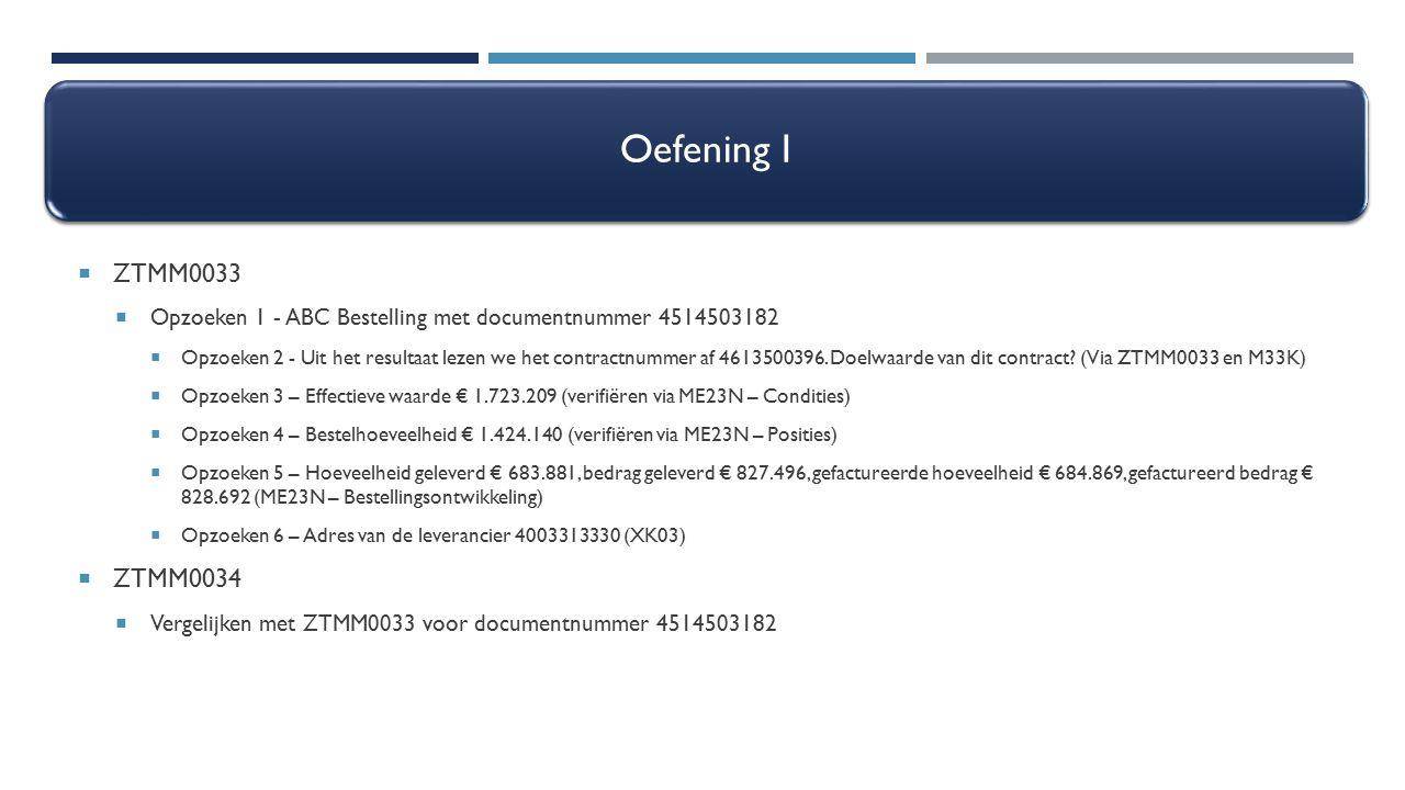 Oefening I ZTMM0033. Opzoeken 1 - ABC Bestelling met documentnummer 4514503182.