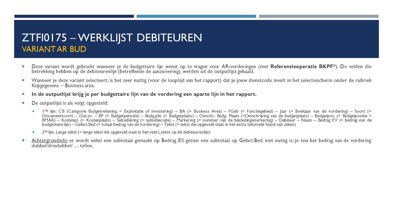 ZTFI0175 – Werklijst debiteuren Variant AR BUD