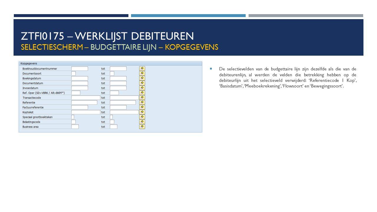 ZTFI0175 – Werklijst debiteuren Selectiescherm – budgettaire lijn – Kopgegevens