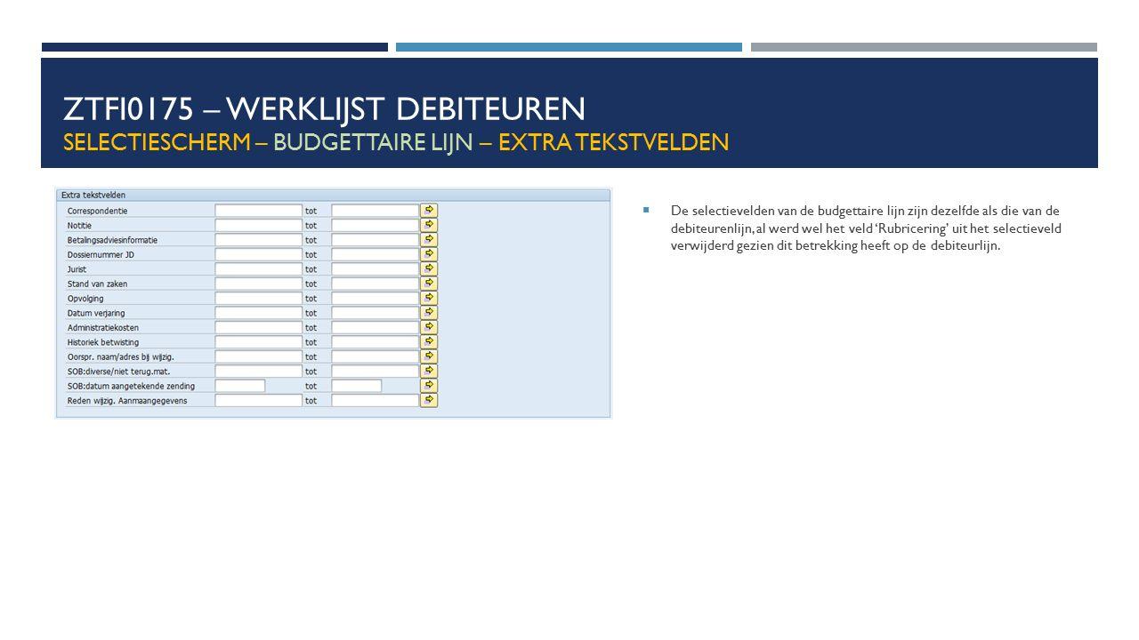 ZTFI0175 – Werklijst debiteuren Selectiescherm – budgettaire lijn – extra tekstvelden