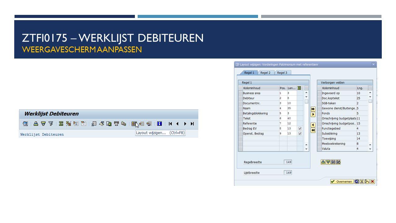 ZTFI0175 – Werklijst debiteuren weergavescherm aanpassen