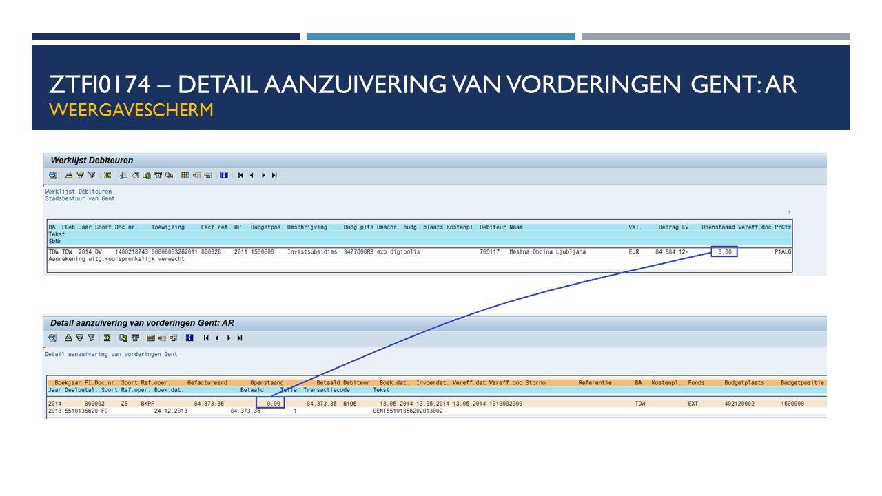 ZTFI0174 – Detail aanzuivering van vorderingen Gent: AR weergavescherm