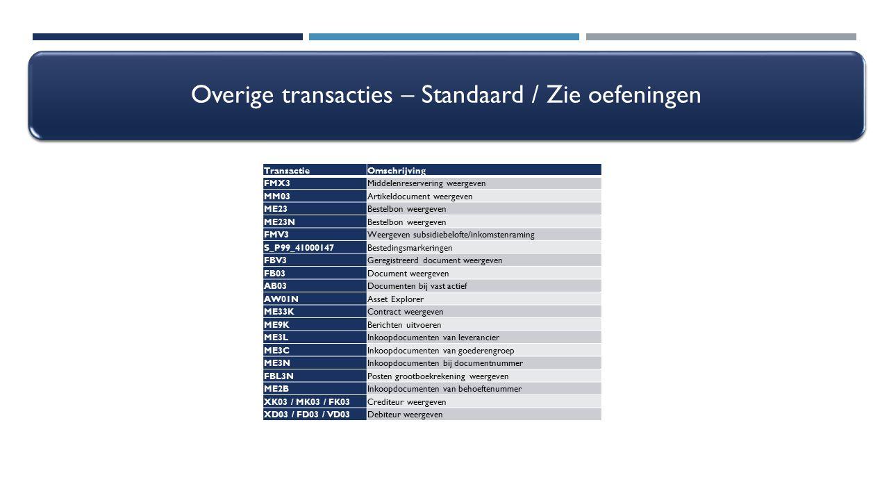 Overige transacties – Standaard / Zie oefeningen