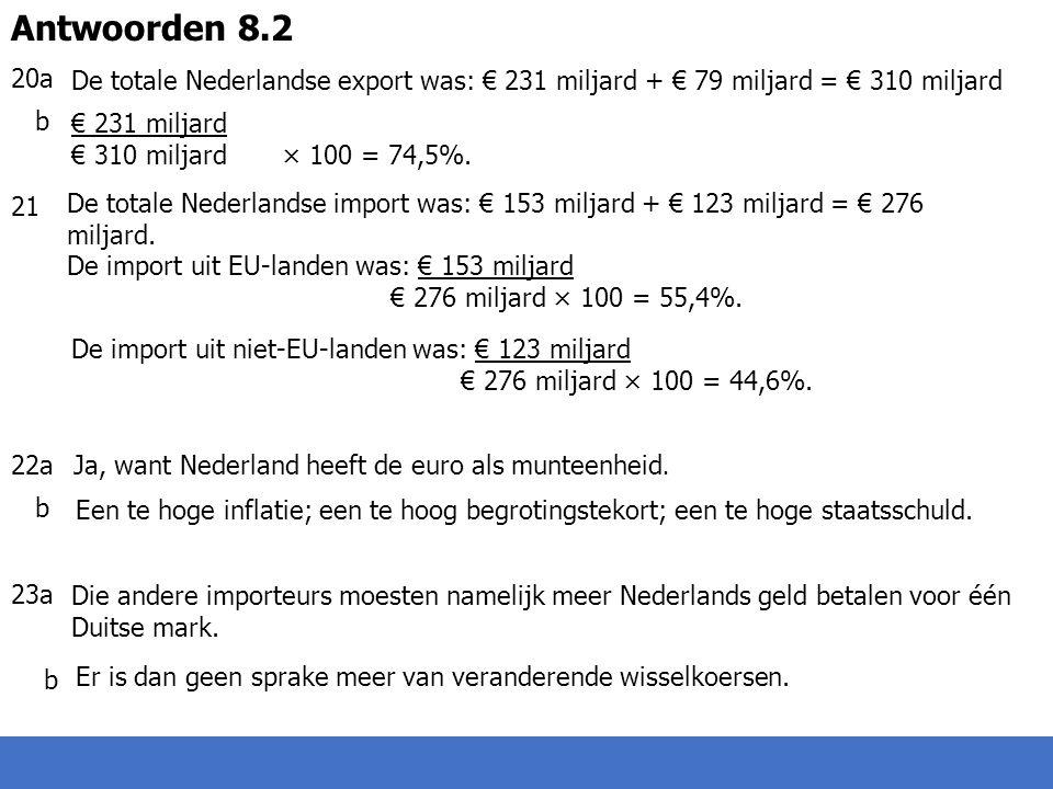 20a b 21 22a 23a Antwoorden 8.2. De totale Nederlandse export was: € 231 miljard + € 79 miljard = € 310 miljard.