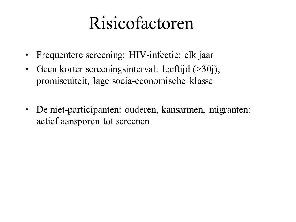 Risicofactoren Frequentere screening: HIV-infectie: elk jaar