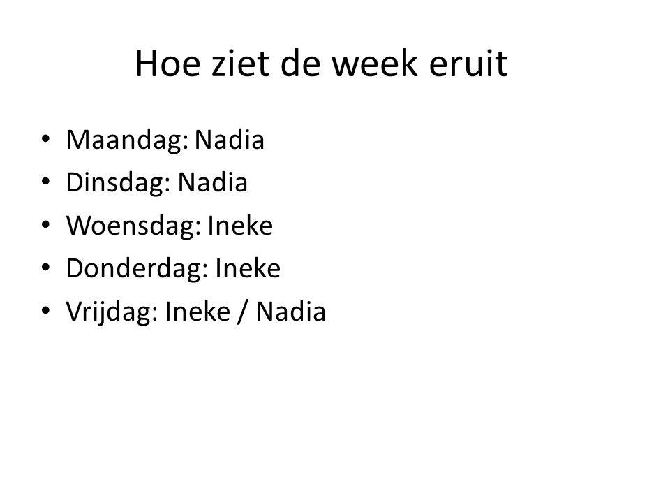 Hoe ziet de week eruit Maandag: Nadia Dinsdag: Nadia Woensdag: Ineke