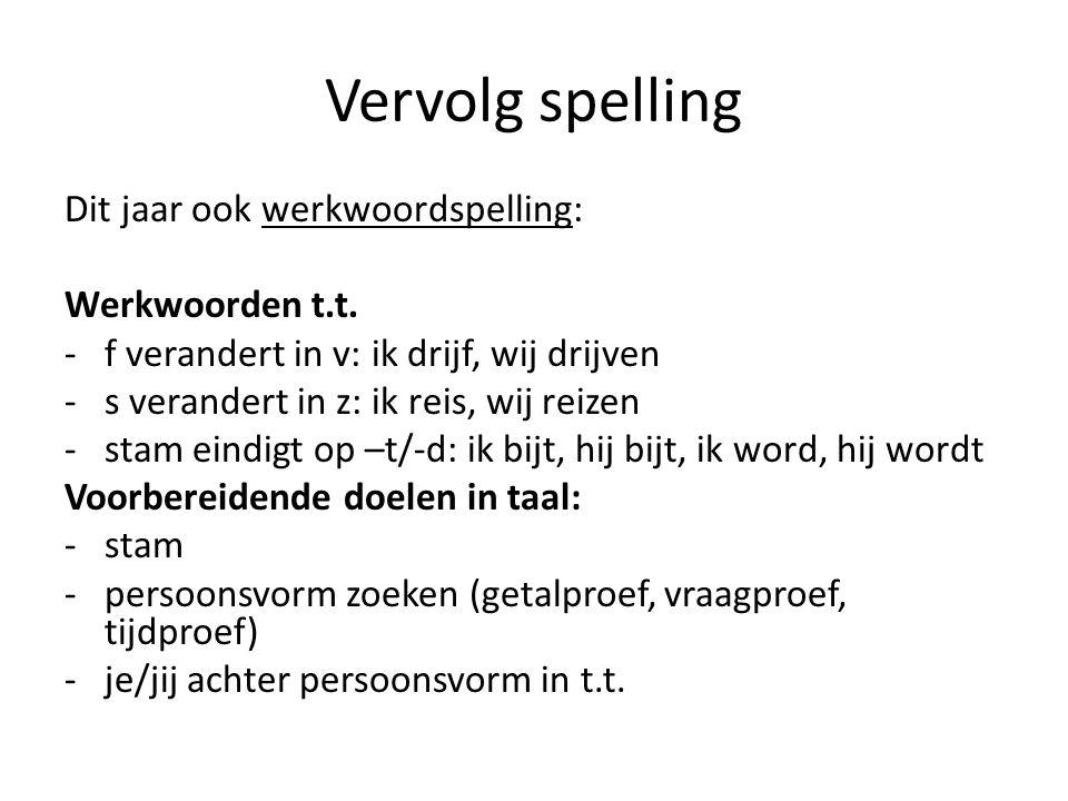 Vervolg spelling Dit jaar ook werkwoordspelling: Werkwoorden t.t.