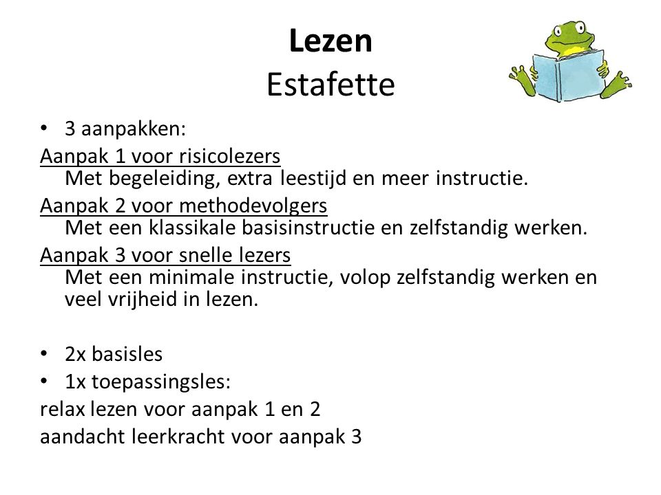 Lezen Estafette 3 aanpakken: