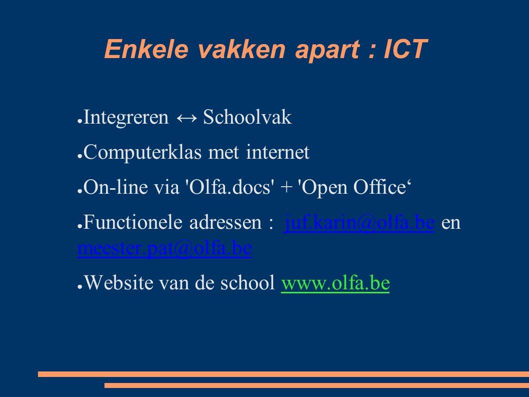 Enkele vakken apart : ICT