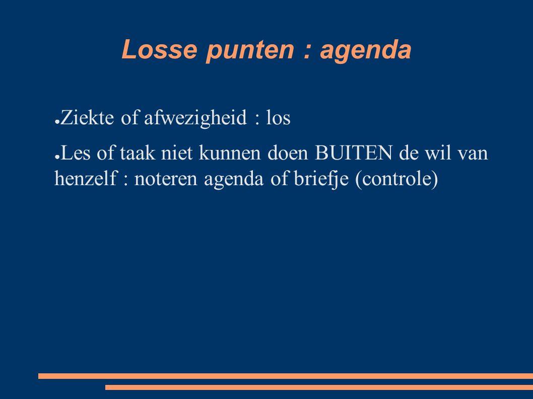 Losse punten : agenda Ziekte of afwezigheid : los
