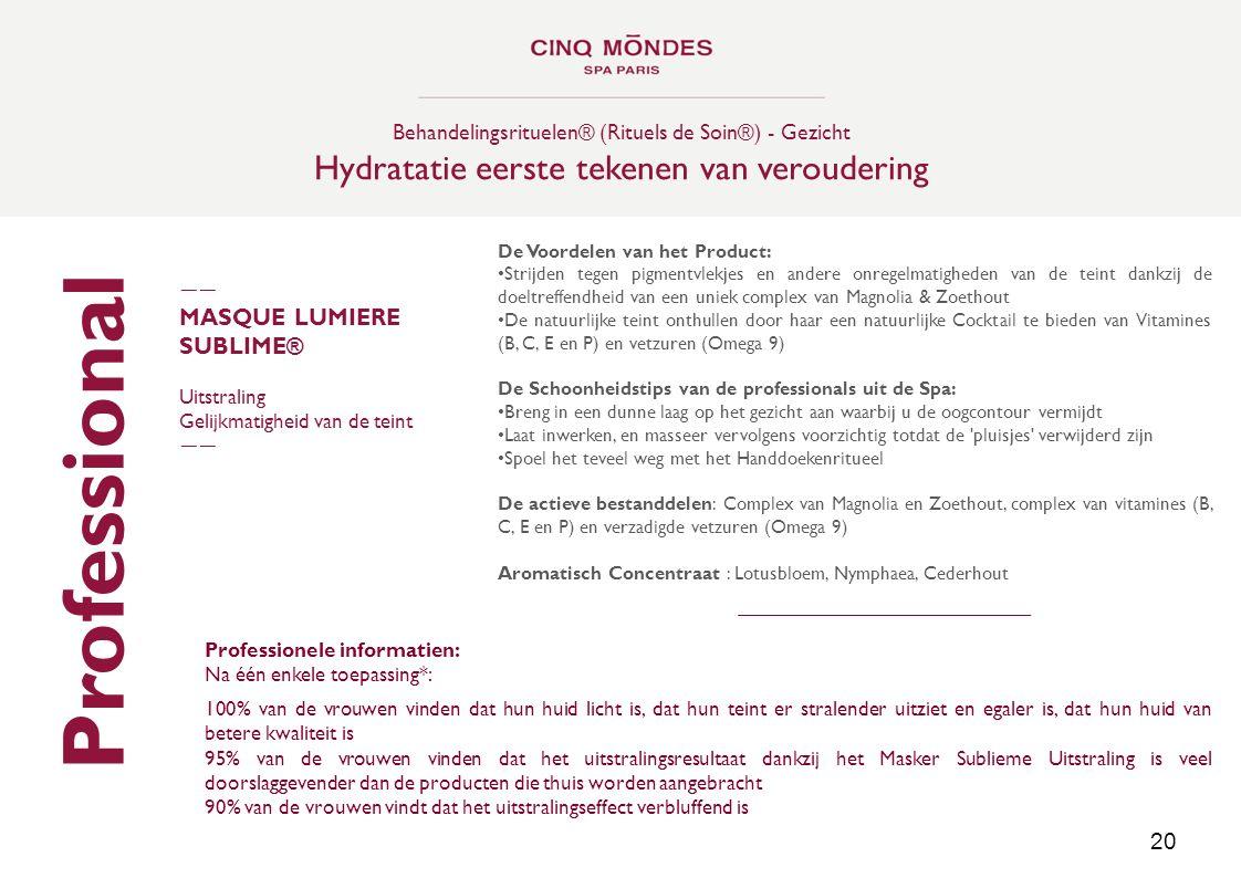 Professional Hydratatie eerste tekenen van veroudering MASQUE LUMIERE