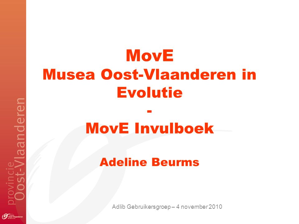 MovE Musea Oost-Vlaanderen in Evolutie - MovE Invulboek Adeline Beurms