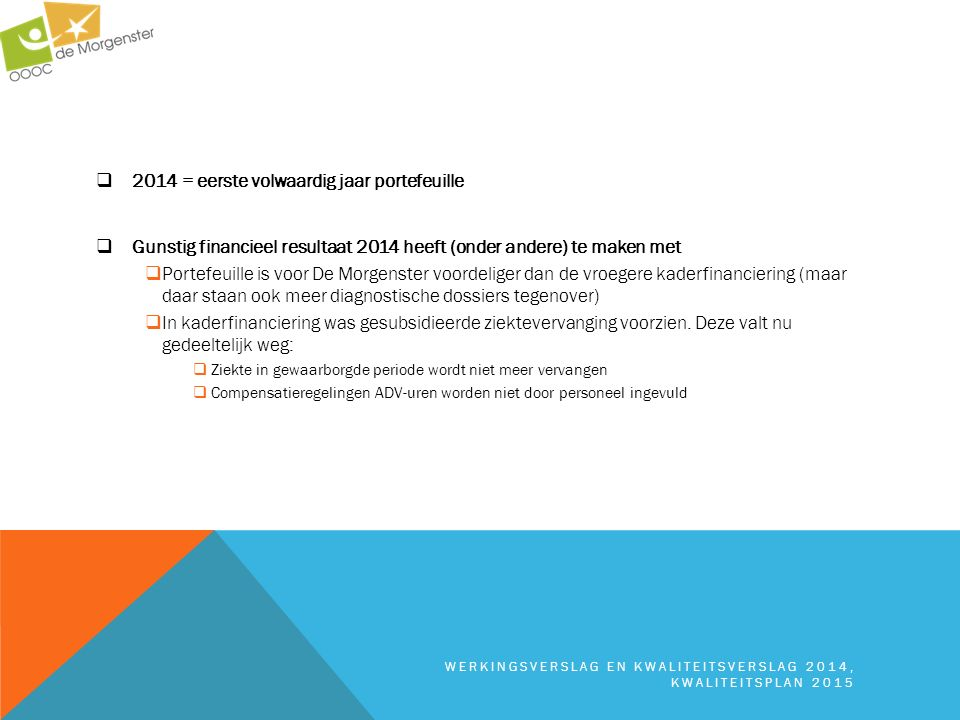 2014 = eerste volwaardig jaar portefeuille