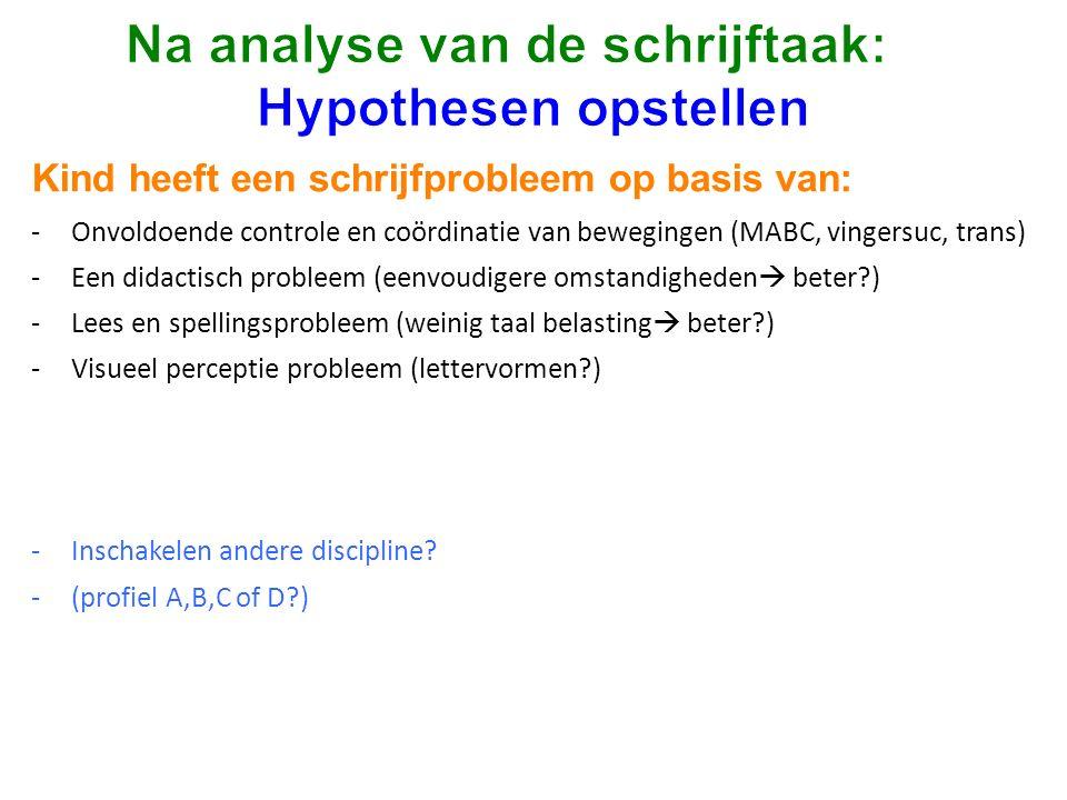 Na analyse van de schrijftaak: Hypothesen opstellen