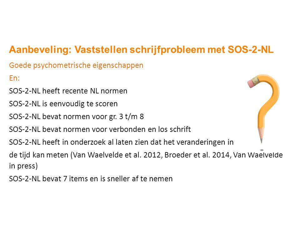 Conclusie Aanbeveling: Vaststellen schrijfprobleem met SOS-2-NL