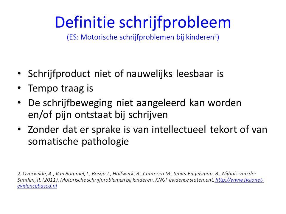 Definitie schrijfprobleem (ES: Motorische schrijfproblemen bij kinderen2)
