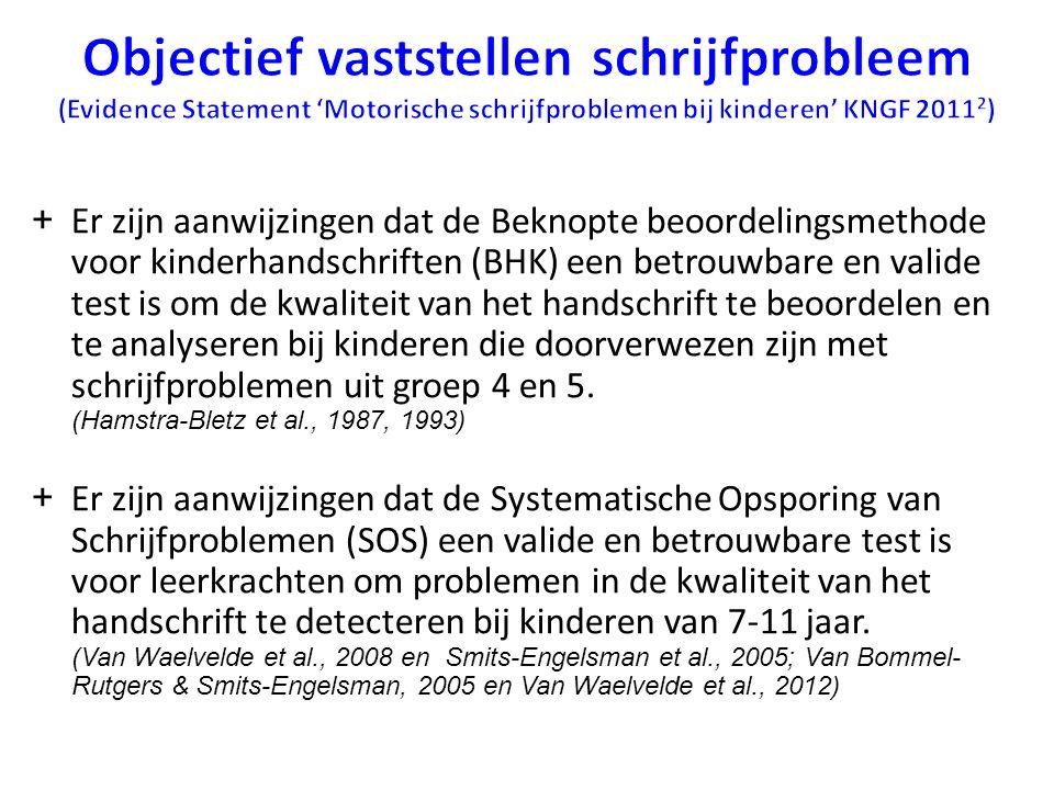 Objectief vaststellen schrijfprobleem (Evidence Statement 'Motorische schrijfproblemen bij kinderen' KNGF 20112)