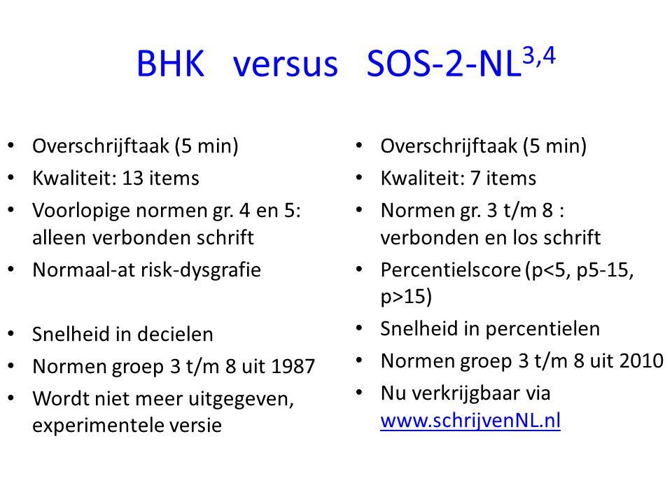 BHK versus SOS-2-NL3,4 Overschrijftaak (5 min) Kwaliteit: 13 items