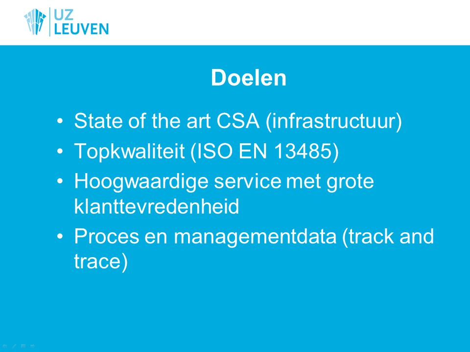 Doelen State of the art CSA (infrastructuur)