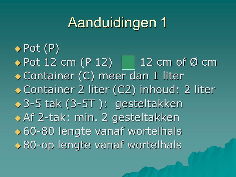 Aanduidingen 1 Pot (P) Pot 12 cm (P 12) 12 cm of Ø cm
