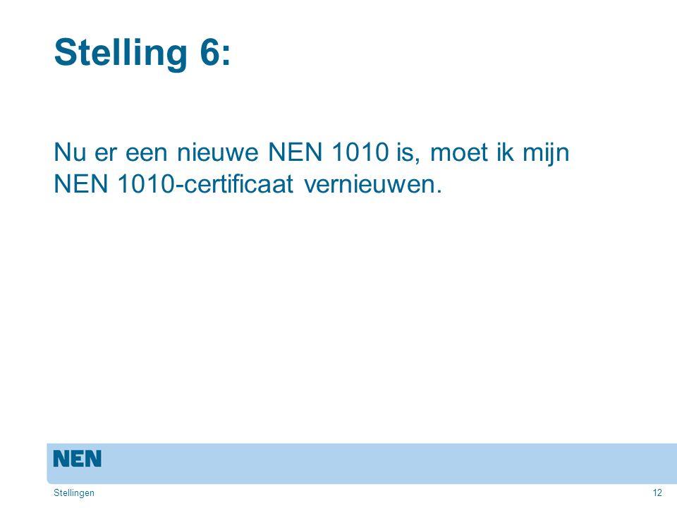 Stelling 6: Nu er een nieuwe NEN 1010 is, moet ik mijn NEN 1010-certificaat vernieuwen. Stellingen