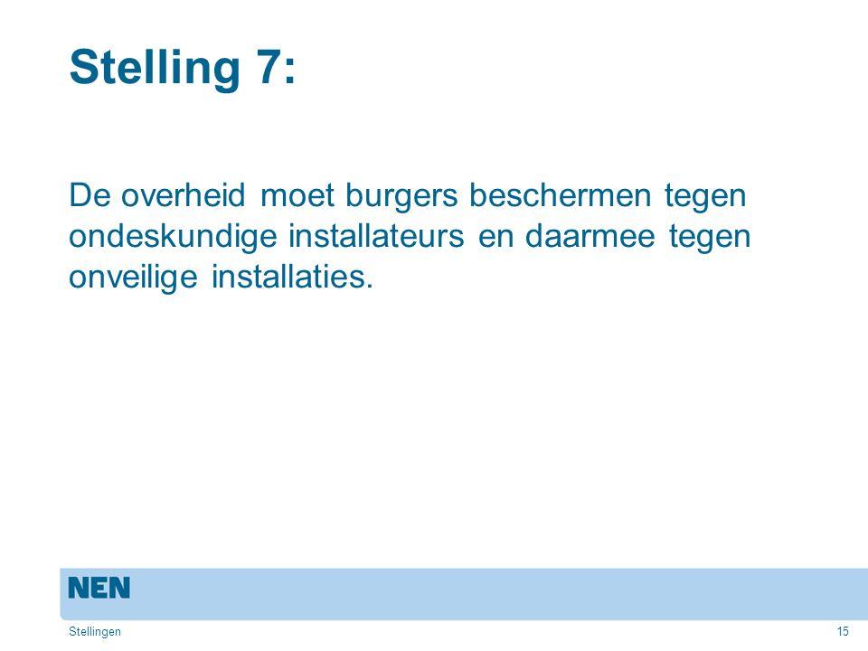 Stelling 7: De overheid moet burgers beschermen tegen ondeskundige installateurs en daarmee tegen onveilige installaties.