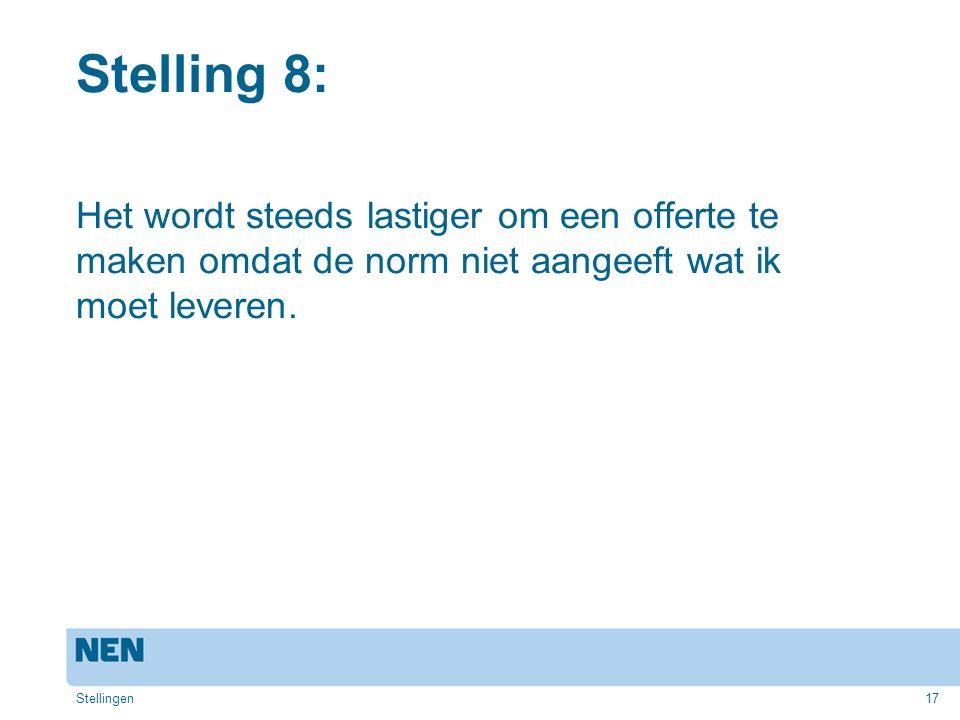 Stelling 8: Het wordt steeds lastiger om een offerte te maken omdat de norm niet aangeeft wat ik moet leveren.