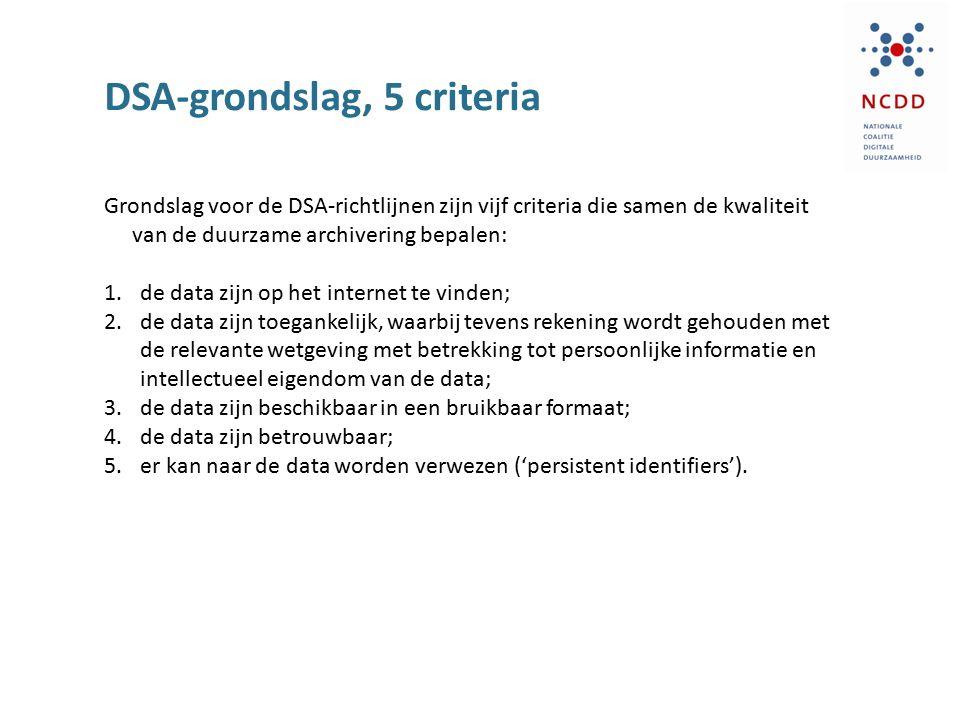 DSA-grondslag, 5 criteria