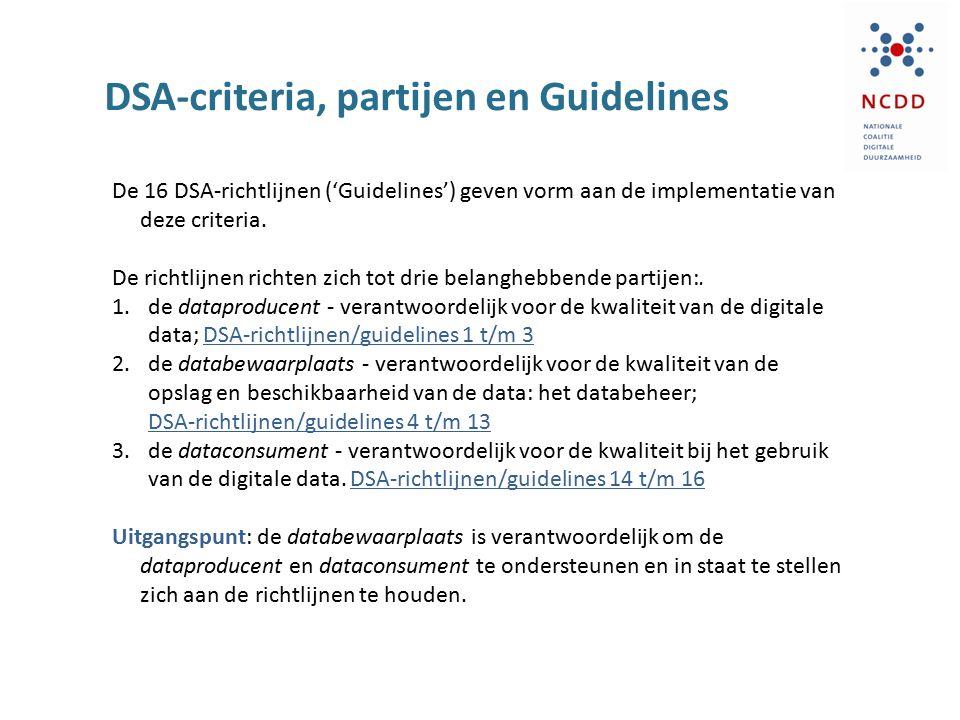 DSA-criteria, partijen en Guidelines