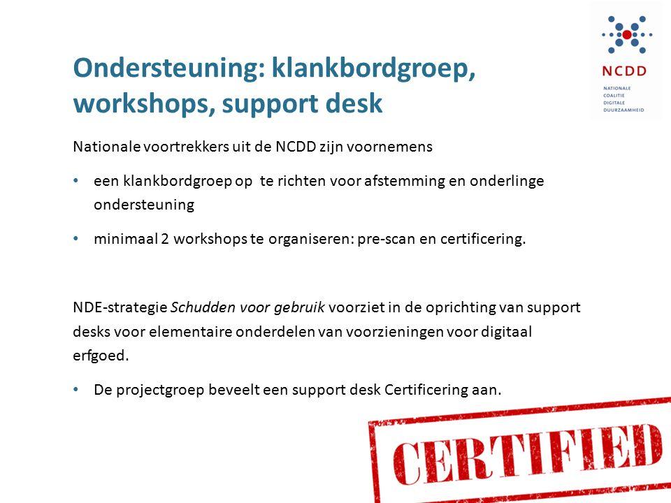 Ondersteuning: klankbordgroep, workshops, support desk