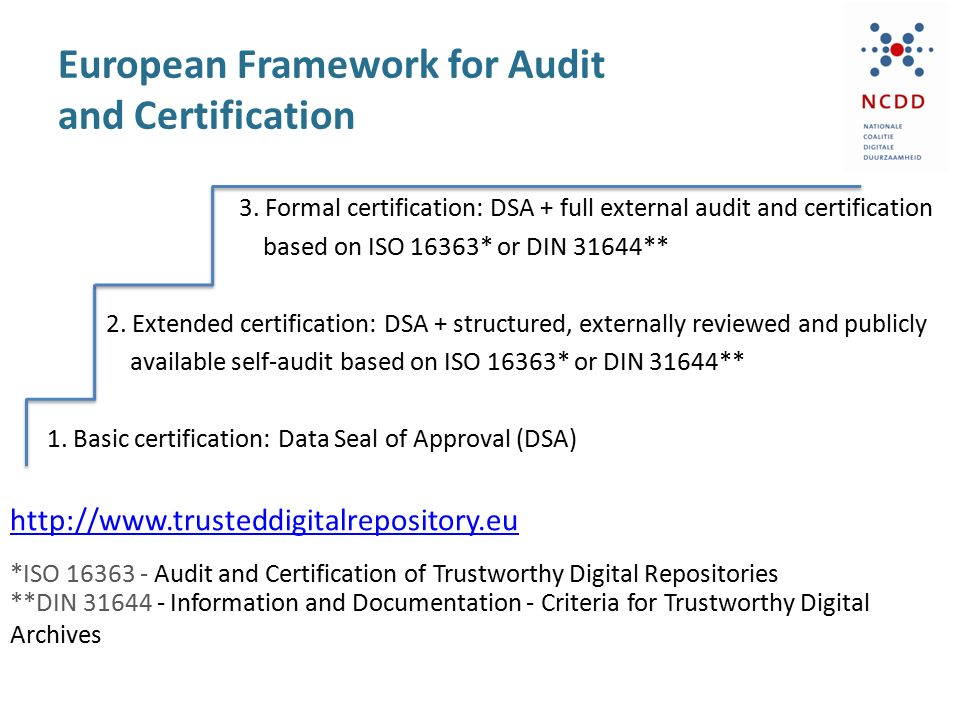 European Framework for Audit and Certification