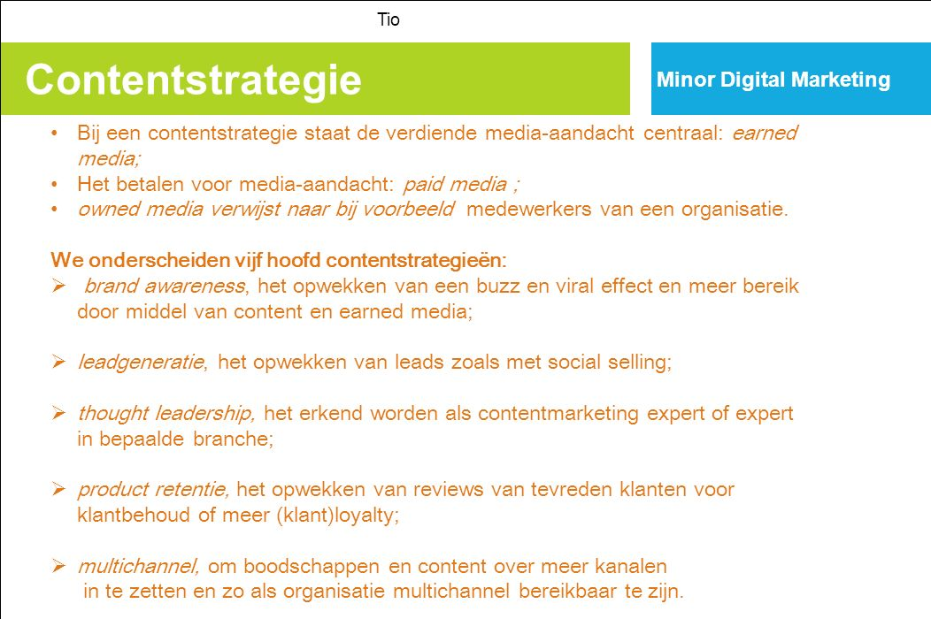 Contentstrategie Minor Digital Marketing