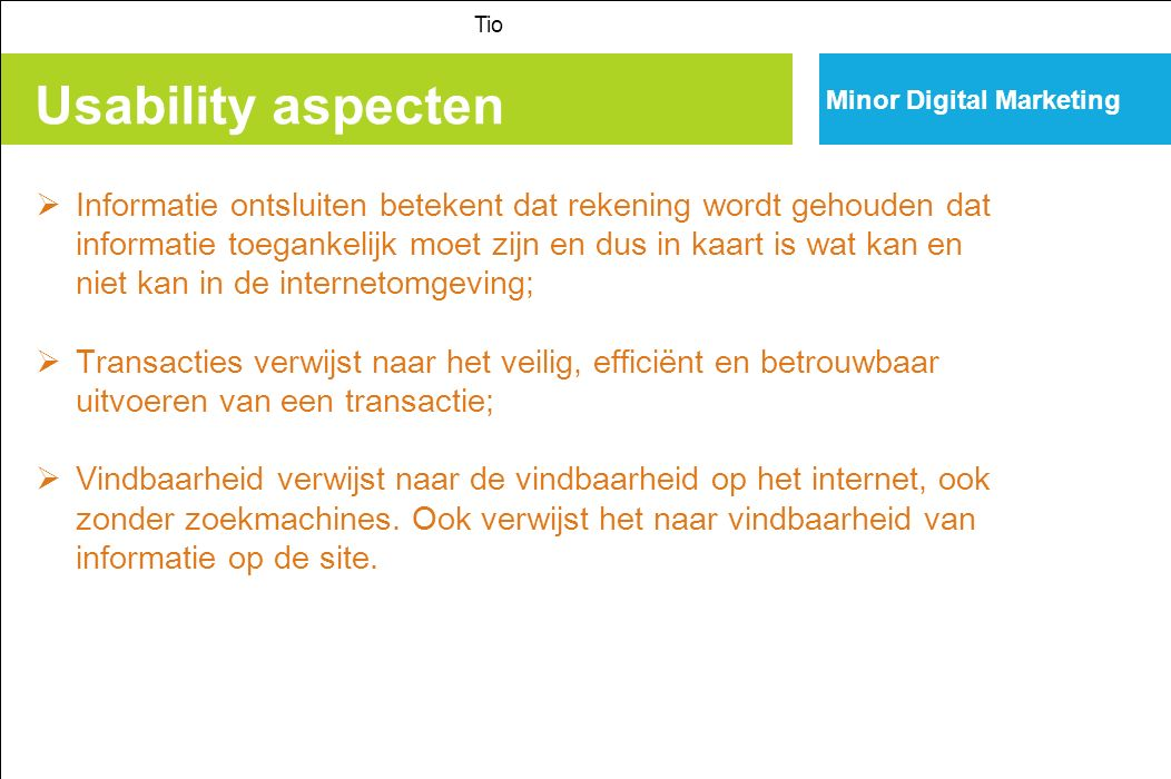 Tio Minor Digital Marketing. Usability aspecten.
